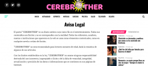 Captura de aviso legal de Cerebrother