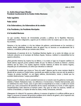 Carta de rectoras a gobierno federal